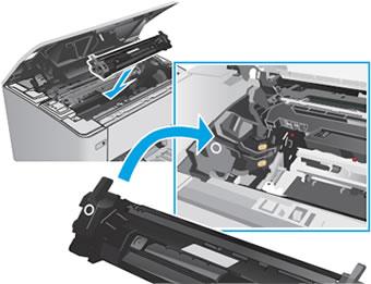 """Инструкция за смяна на тонер касета HP CF230X без чип: """"Поставете новата тонер касета в принтера. Трябва да се застопори здраво"""""""